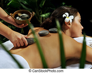 girl massage - portrait of young beautiful woman in spa ...