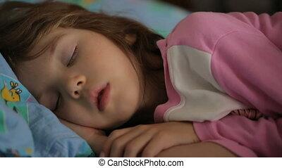girl, matin, dormir, peu, lumière
