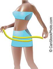girl measuring hips