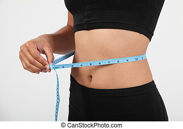 Girl measuring waist size