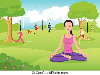 Girl meditating at city park