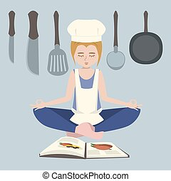 girl meditating before cooking vector cartoon