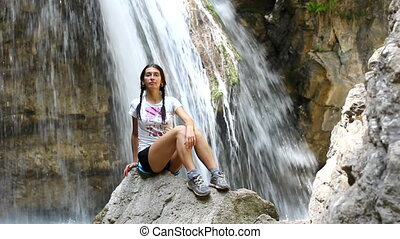Girl, meditation, waterfall