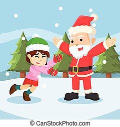 girl meet santa illustration design
