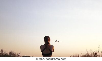 Girl meets a plane