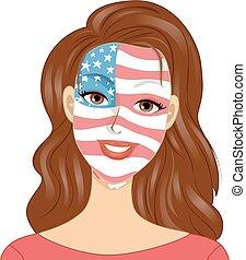 Girl Memorial Day Face Paint Illustration