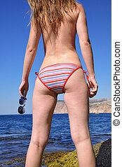 girl, mer, bikini