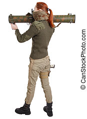girl mercenary with RPG rocket launcher isolated on white