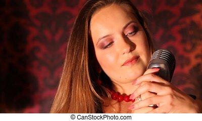 girl, microphone, étagère