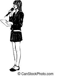 girl, microphone