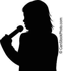 girl, microphone, parler