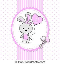 girl, mignon, balloon, douche, card., coeur, lapin, bébé, formé