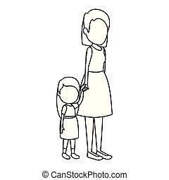 girl, mignon, petite mère, caractères