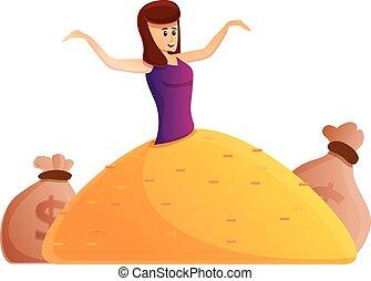Girl millionaire icon, cartoon style