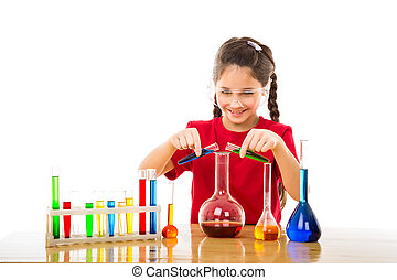 Girl mixes chemicals in a flask