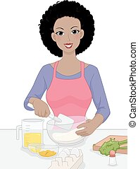 Girl Mixing Bowl - Illustration Featuring a Woman Mixing...