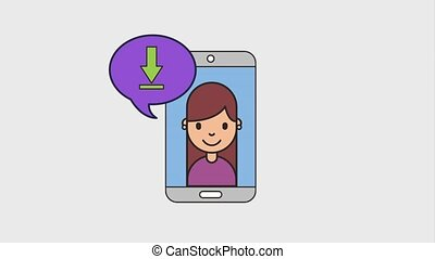 girl mobile speech bubble share video favorite net work...