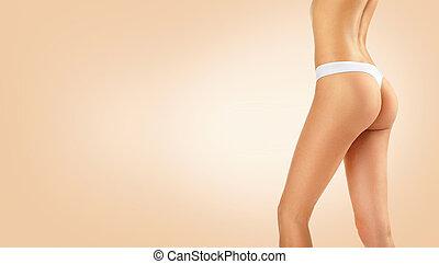 girl, modèle, body., hanches, corps, taille, femme, parfait, mince, fesses