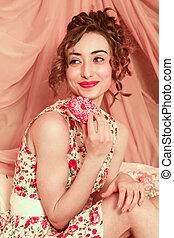girl, modèle, coiffure, portrait