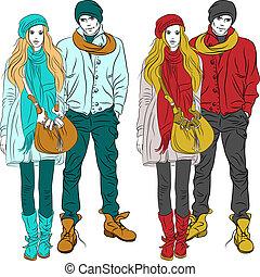 girl, mode, élégant, chaud, vecteur, type, vêtements