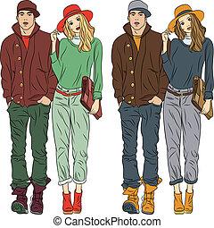 girl, mode, élégant, vecteur, printemps, type, vêtements