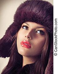 girl, mode, beauté, modèle, chapeau, fourrure