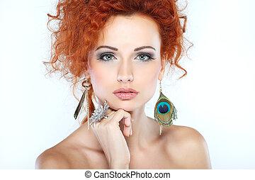 girl, mode, portrait., hair., accessorys., rouges