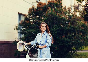 girl, mode, vélo
