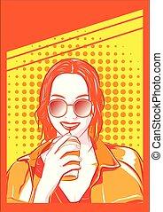 Girl Model drink Coffee pop art style