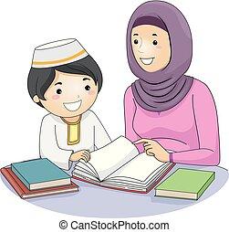 Girl Mom Kid Boy Muslim Study Illustration