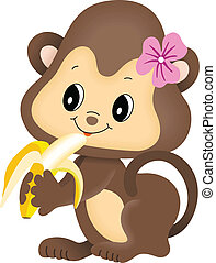 Girl monkey eating banana - Scalable vectorial image...