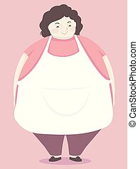 Girl Mother Big Apron Illustration
