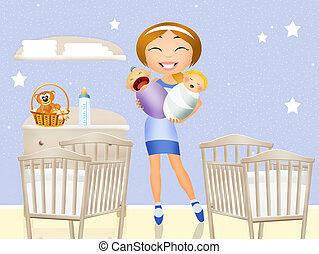 Girl mother