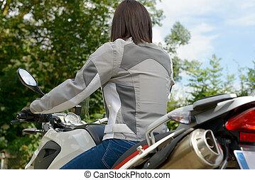 girl, motocyclette, vue, dos, séance