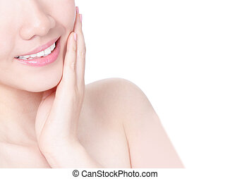 girl mouth closeup with smile and hand touch face - Close up...