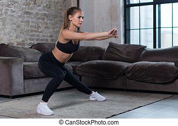 girl, mouvements, exécuter, latéral, séance entraînement,...