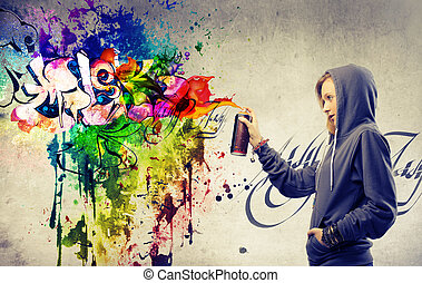 girl mural painting - girl drawing mural painting with spray