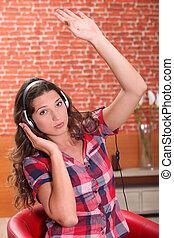 girl, musique, jeune, écoute