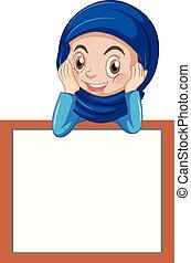 girl, musulman, bannière, vide