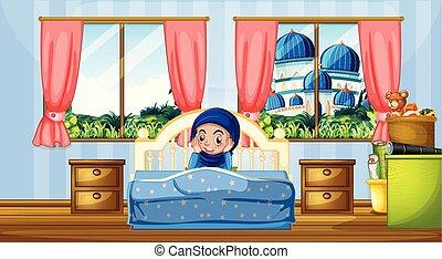 girl, musulman, chambre à coucher