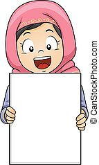 girl, musulman, planche, gosse