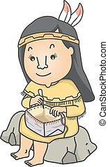 Girl Native American Basket Birch Bark Illustration -...
