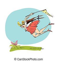 Girl naturalist catches the butterfly a net - lGirl...