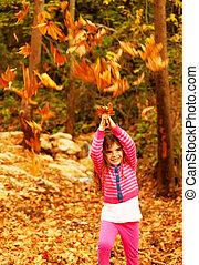 girl, nature, apprécier, petit