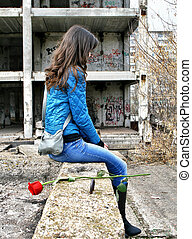 Girl near a neglected buildin - Alone girl near a neglected...
