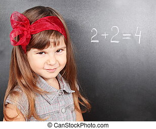 Girl Near Blackboard Learning Maths
