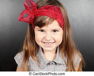 Girl Near Blackboard Smiling Portrait