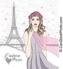 Paris postcard - Girl near Eiffel tower. Hand drawn Paris ...