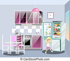 Girl near refrigerator thinking what to eat.