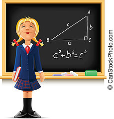 girl near school blackboard vector illustration isolated on...